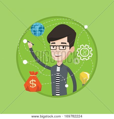 Young smiling businessman writing on a virtual screen. Cheerful caucasian businessman drawing a business plan on a virtual screen. Vector flat design illustration in the circle isolated on background.