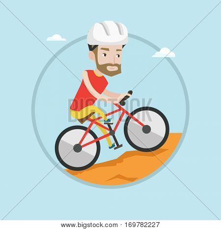 Extreme hipster man riding on mountain bike. Young confident man tourist in helmet traveling in the mountains on mountain bike. Vector flat design illustration in the circle isolated on background.