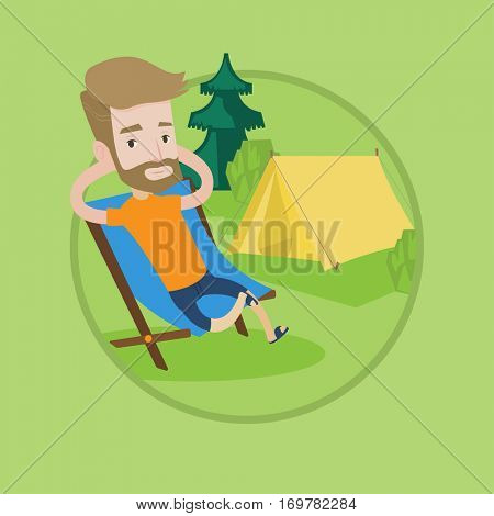 Happy hipster man with beard sitting in folding chair in the camp. Young caucasian man relaxing and enjoying his camping holiday. Vector flat design illustration in the circle isolated on background.