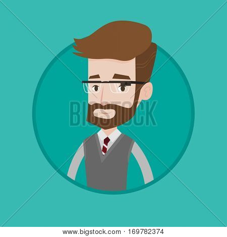 Hipster man with beard wearing wearable computer with an optical head-mounted display. Young caucasian man wearing smart glasses. Vector flat design illustration in the circle isolated on background.