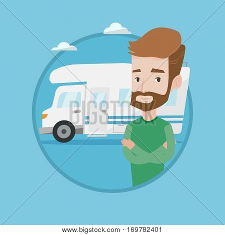 Hipster man with beard standing in front of motor home. Young caucasian man with arms crossed enjoying his vacation in motor home. Vector flat design illustration in the circle isolated on background.