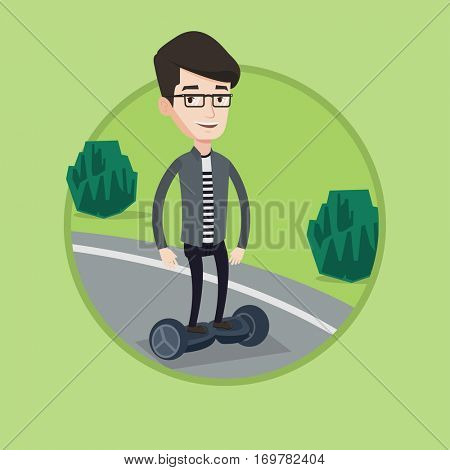 Young caucasian man riding on self-balancing electric scooter in the park. Joyful man standing on self-balancing electric scooter. Vector flat design illustration in the circle isolated on background.