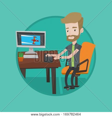 Hipster man sitting at desk and drawing on graphics tablet. Young graphic designer using digital graphics tablet, computer and pen. Vector flat design illustration in the circle isolated on background