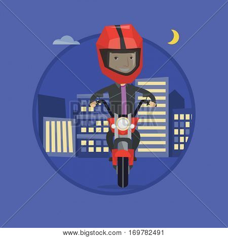 Young man in helmet riding a motorbike on the background of night city. Caucasian man driving a motorbike on a city road at night. Vector flat design illustration in the circle isolated on background.