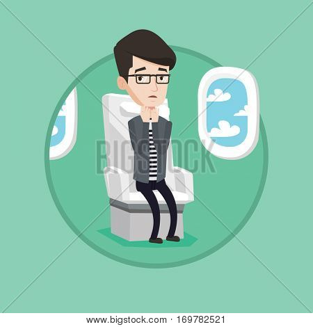 Young terrified caucasian airplane passenger shocked by plane flight in a turbulent area. Airplane passenger frightened by flight. Vector flat design illustration in the circle isolated on background.