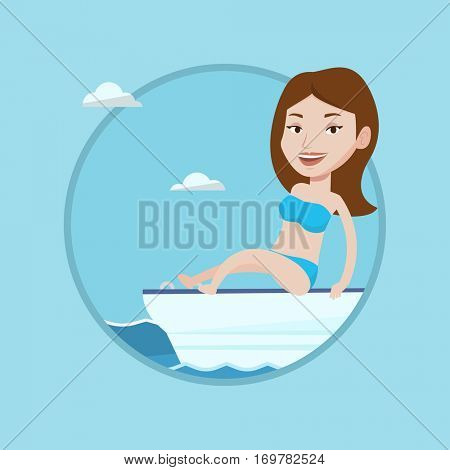Woman travelling by ship. Tourist tanning on yacht. Woman sitting on the front of yacht. Woman resting during summer cruise trip. Vector flat design illustration in the circle isolated on background.