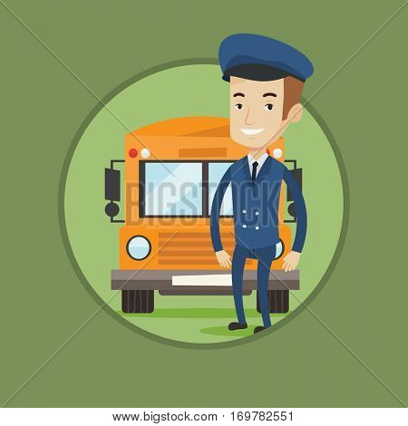 Caucasian happy school driver standing in front of yellow bus. Smiling school bus driver in uniform. Cheerful school bus driver. Vector flat design illustration in the circle isolated on background.