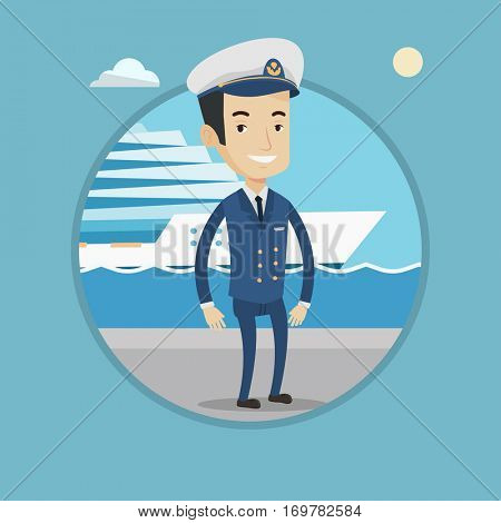 Caucasian captain on the background cruise ship. Ship captain in uniform on seacoast background. Ship captain standing at the port. Vector flat design illustration in the circle isolated on background