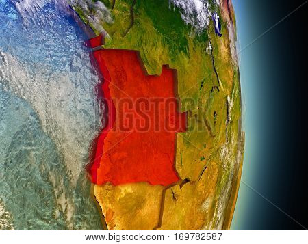 Angola In Red From Space