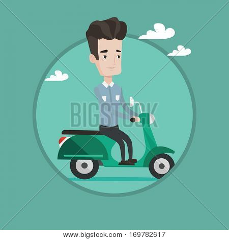 Caucasian man riding a scooter outdoor. Young happy man driving a scooter outdoors. Smiling man enjoying his trip on a scooter. Vector flat design illustration in the circle isolated on background.