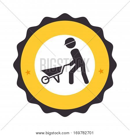 circular frame with pictogram with man and wheelbarrow vector illustration