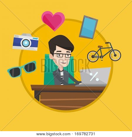Young happy caucasian man using laptop for online shopping. Cheerful man doing online shopping. Smiling an making online order. Vector flat design illustration in the circle isolated on background.