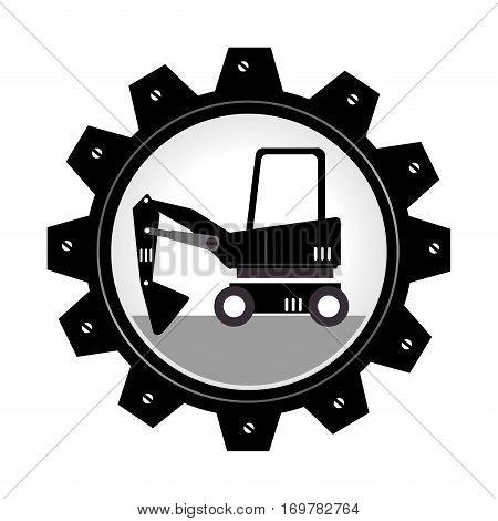 monochrome gear wheel with forklift truck with forks vector illustration