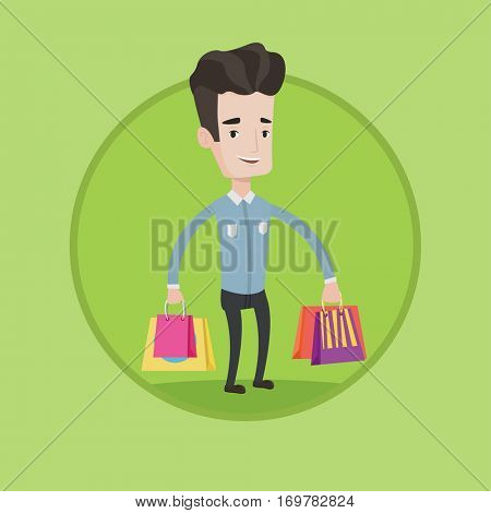 Young smiling man holding shopping bags. Happy caucasian man carrying shopping bags. Man standing with a lot of shopping bags. Vector flat design illustration in the circle isolated on background.