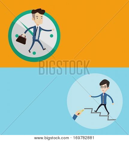Two business banners with space for text. Vector flat design. Horizontal layout. Man running up the career ladder drawn by hand. Businessman climbing the career ladder. Concept of business career.