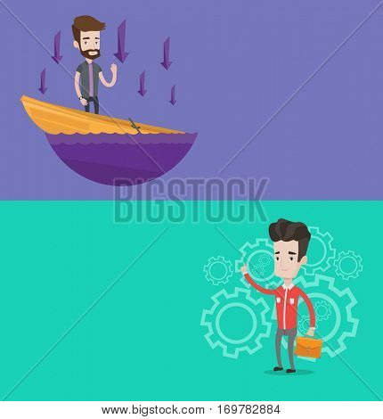 Two business banners with space for text. Vector flat design. Horizontal layout. Businessman asking for help in a sinking boat. Man sinking and arrows pointing down symbolizing business bankruptcy.