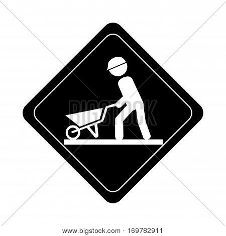 monochrome road sign pictogram with man with wheelbarrow vector illustration
