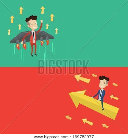 Two business banners with space for text. Vector flat design. Horizontal layout. Businessman sitting on arrow going up. Successful businessman flying on arrow. Businessman moving to business success.