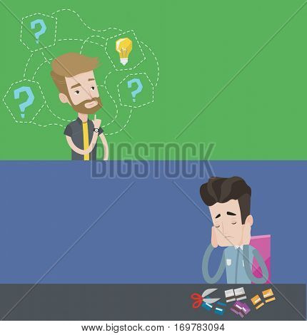 Two business banners with space for text. Vector flat design. Horizontal layout. Young businessman cutting his credit card. Depressed businessman sitting at desk and cutting credit card with scissors.