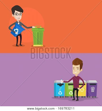 Two ecology banners with space for text. Vector flat design. Horizontal layout. Man with recycling bin. Man throwing away plastic bottle in recycling bin. Concept of garbage separation for recycling.