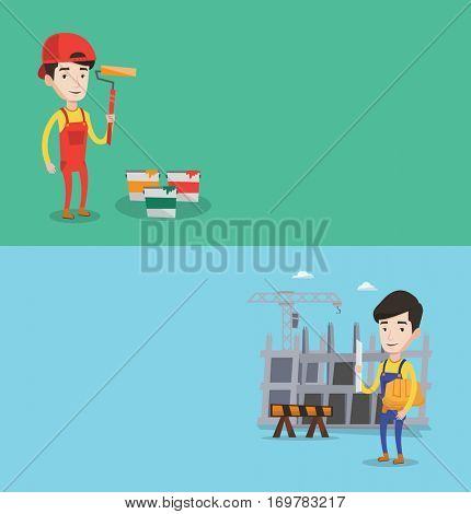 Two construction banners with space for text. Vector flat design. Horizontal layout. Painter in uniform holding paint roller in hands. Young cheerful painter at work. Painter standing near paint cans.