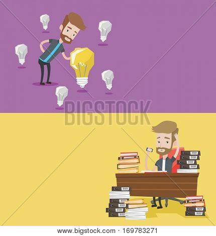 Two business banners with space for text. Vector flat design. Horizontal layout. Businessman having business idea. Businessman standing among unlit light bulbs and looking at the brightest light bulb.