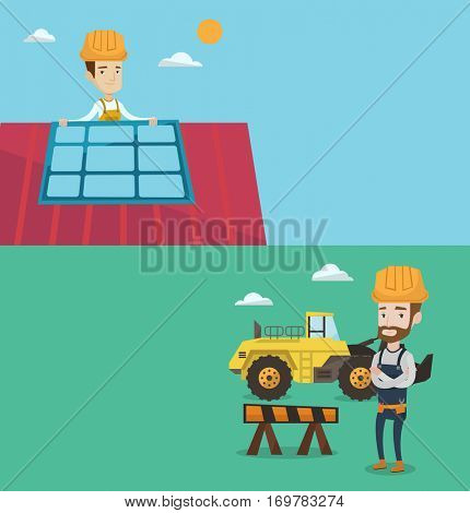 Two construction banners with space for text. Vector flat design. Horizontal layout. Man installing solar panels on roof. Technician checking solar panels on roof. Eengineer adjusting solar panels.