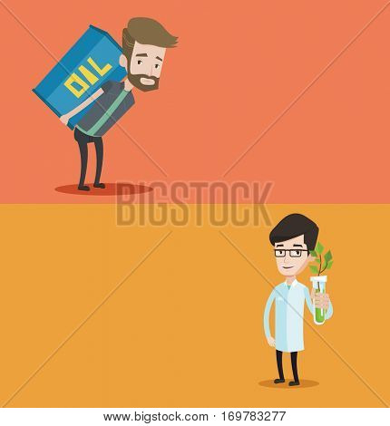 Two ecology banners with space for text. Vector flat design. Horizontal layout. Young scientist holding test tube with young plant. Caucasian scientist in medical gown analyzing plant in test tube.