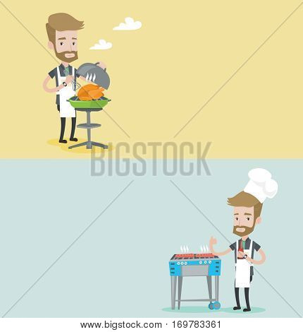 Two food and drink banners with space for text. Vector flat design. Horizontal layout. Man cooking chicken on barbecue grill. Young man having a barbecue party. Man preparing chicken on barbecue grill