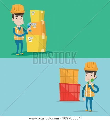 Two industrial banners with space for text. Vector flat design. Horizontal layout. Port worker talking on wireless radio. Port worker standing on container background. Port worker using wireless radio