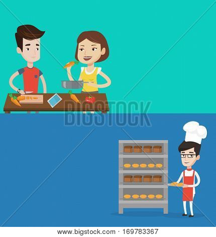 Two food banners with space for text. Vector flat design. Horizontal layout. Baker holding tray of bread in the bakery. Confident male baker standing near bread rack. Smiling baker holding baking tray