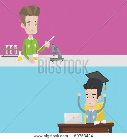 Two educational banners with space for text. Vector flat design. Horizontal layout. Student carrying out experiment chemistry class. Student working with microscope and test tubes in chemistry class.