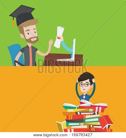 Two educational banners with space for text. Vector flat design. Horizontal layout. Graduate getting diploma from the computer. Happy student in graduation cap receiving diploma from the computer.