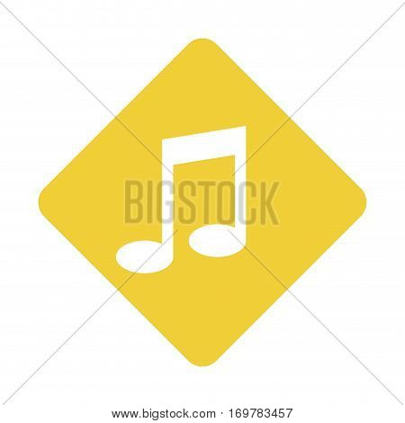 color silhouette square with musical note vector illustration