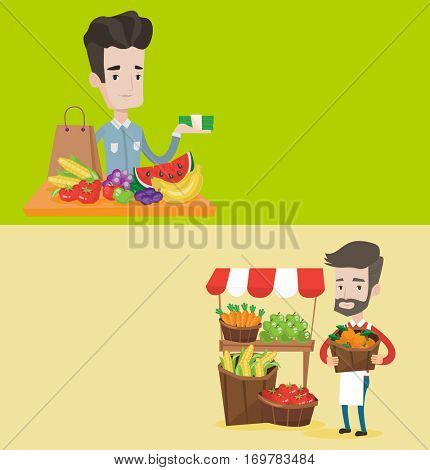 Two food banners with space for text. Vector flat design. Horizontal layout. Street seller with stall with fruits and vegetables. Seller standing near market stall. Seller holding basket with fruits.