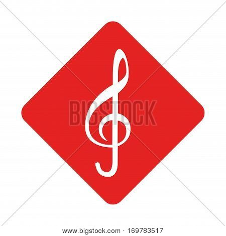 color silhouette square with sign music treble clef vector illustration