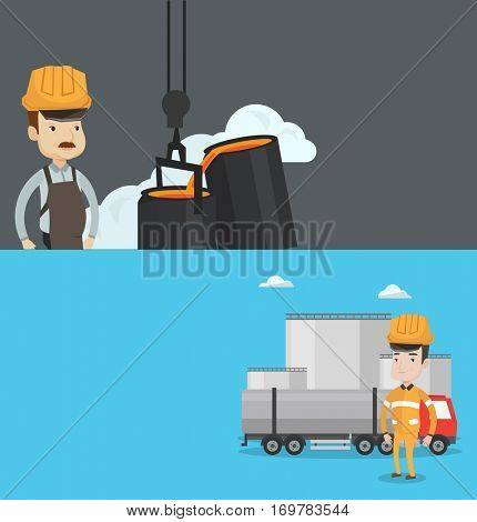 Two industrial banners with space for text. Vector flat design. Horizontal layout. steelworker at work in the foundry. Steelworker controlling iron smelting in the foundry in steel making plant.