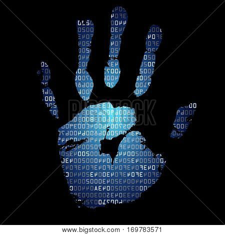 Background with palmprints and hexadecimal code. Modern security concept. Vector illustration