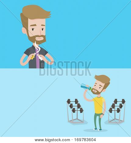 Two lifestyle banners with space for text. Vector flat design. Horizontal layout. Hipster man breaking the cigarette. Man crushing cigarette. Man holding broken cigarette. Quit smoking concept.