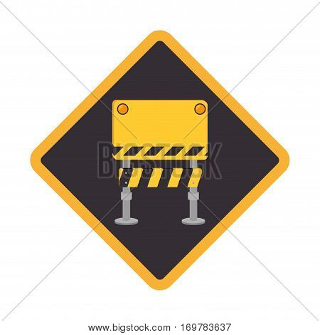color road sign with barrier of closed road vector illustration