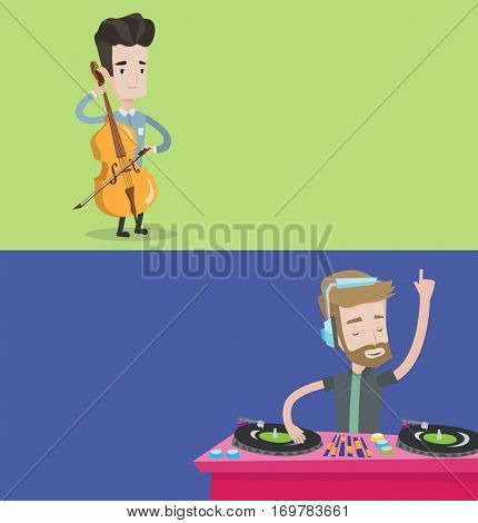 Two media banners with space for text. Vector flat design. Horizontal layout. Man playing cello. Cellist playing classical music on cello. Musician with cello and bow. DJ mixing music on turntables.
