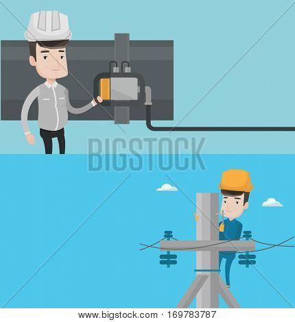 Two industrial banners with space for text. Vector flat design. Horizontal layout. Caucasian electrician in hard hat working on electric power pole. Electrician at work on electric power pole.