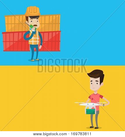Two industrial banners with space for text. Vector flat design. Horizontal layout. Caucasian man controlling delivery drone with post package. Young man getting post package from delivery drone.