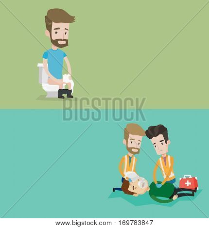 Two medical banners with space for text. Vector flat design. Horizontal layout. Team of paramedics during process of resuscitation of man. Paramedics doing cardiopulmonary resuscitation of a man.