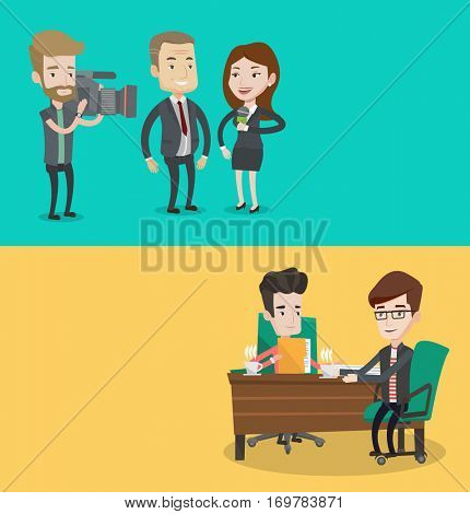 Two media banners with space for text. Vector flat design. Horizontal layout. Professional female reporter with microphone making interview with businessman. Hipster operator filming interview.