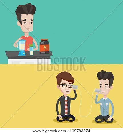 Two lifestyle banners with space for text. Vector flat design. Horizontal layout. Men talking using tin can telephone. Guy getting message from friend on tin can phone. Men talking through a tin phone