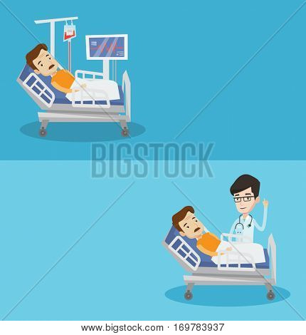 Two medical banners with space for text. Vector flat design. Horizontal layout. Doctor with finger up visiting patient lying in hospital bed. Patient lying in hospital bed with heart rate monitor.