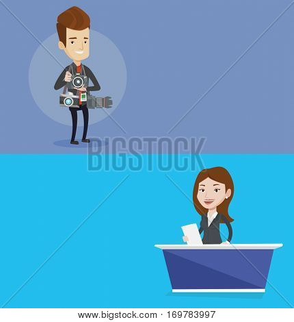 Two media banners with space for text. Vector flat design. Horizontal layout. Television anchorwoman reporting tv news at studio. Caucasian television announcer at studio during live broadcasting.