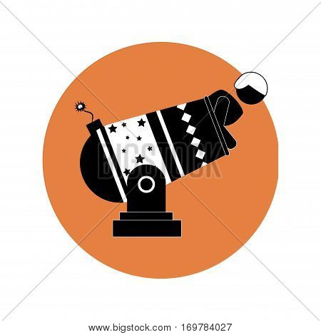 circular silhouette with human cannonball vector illustration