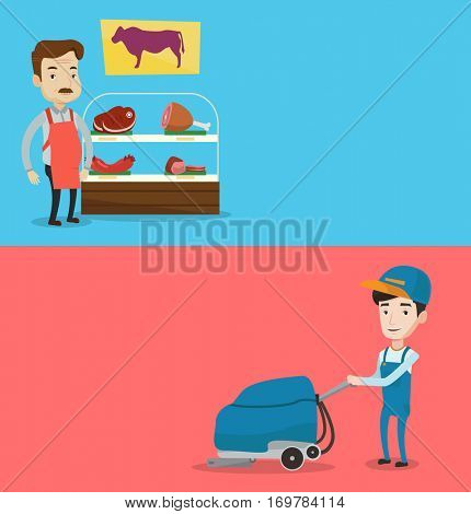 Two shopping banners with space for text. Vector flat design. Horizontal layout. An adult caucasian butcher offering fresh meat at display in butcher shop. Butcher at work at the counter in butchery.